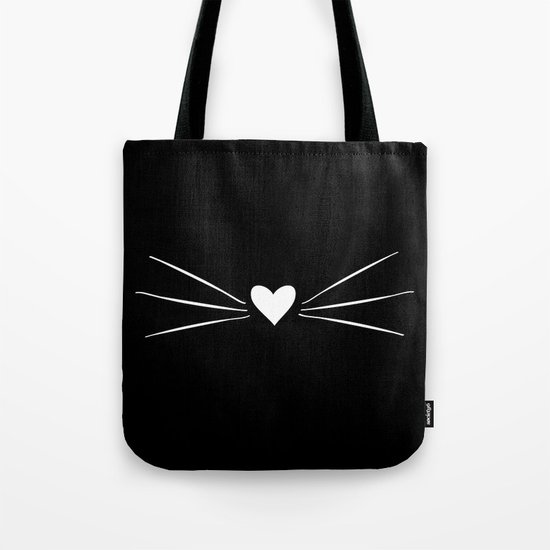 Cat Heart Nose & Whiskers White on Black by danaandthebooks