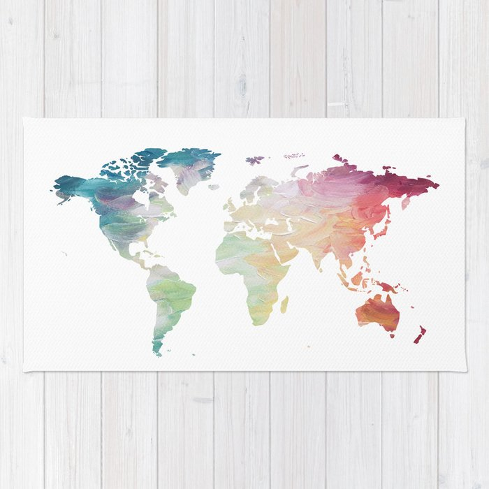 Painted world map rug by olaholahola society6 painted world map rug gumiabroncs Gallery