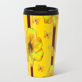 """""""FOR THE LOVE OF BUTTERFLIES"""" RED-YELLOW ART Travel Mug"""