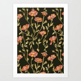 Dark Botanical Pattern Kunstdrucke