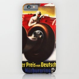 1937 Grand Prix Motor Racing Nurburgring Germany Vintage Advertising Poster iPhone Case