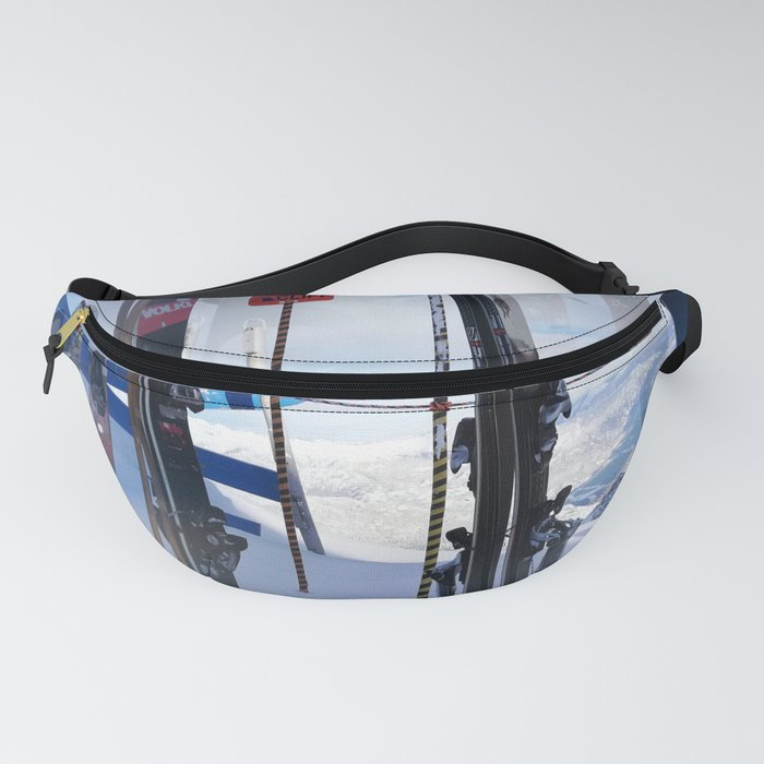 Skis at cliff edge Fanny Pack
