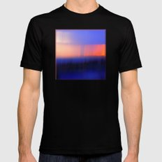 Abstract Sunset Mens Fitted Tee MEDIUM Black