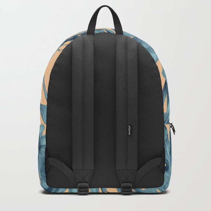 Island Life Hibiscus Palm Apricot Teal Blue Backpack