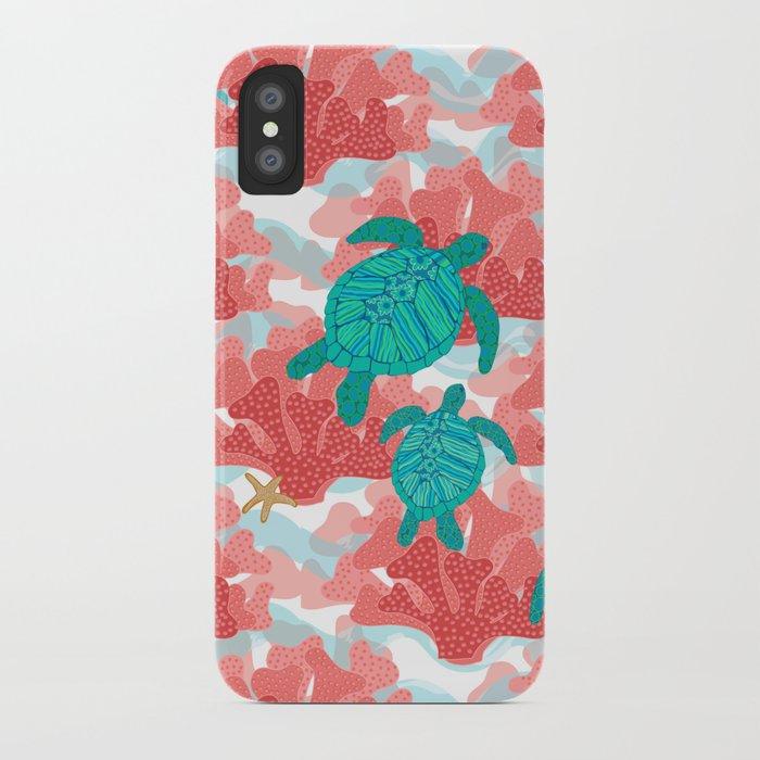 sea turtles in the coral - ocean beach marine iphone case