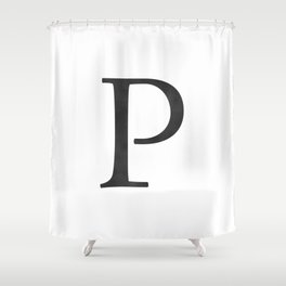Letter P Initial Monogram Black and White Shower Curtain