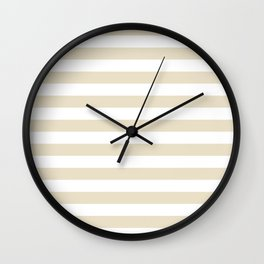 Narrow Horizontal Stripes - White and Pearl Brown Wall Clock