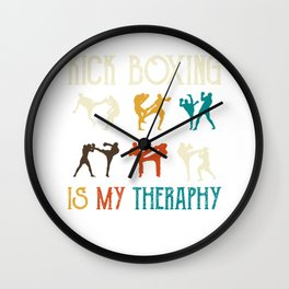 Kick Boxing is my theraphy - Martial Arts Wall Clock