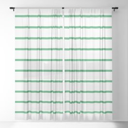 Kelly Green Breton Stripes Sheer Curtain