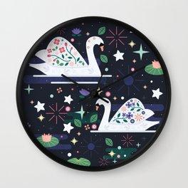 Swans on Stars Wall Clock