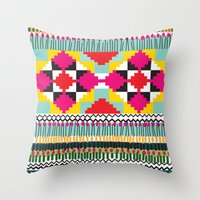 ethnic Throw Pillows featuring Ethnic by Maria Blanco