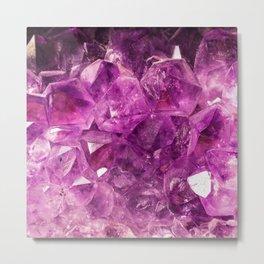 Amethyst faux geode crystal gemstone photo hipster gem stone mineral specimen photograph geeky geek Metal Print