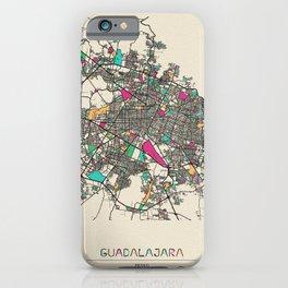 Colorful City Maps: Guadalajara, Mexico iPhone Case