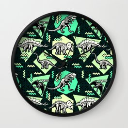 90's Dinosaur Skeleton Neon Pattern Wall Clock