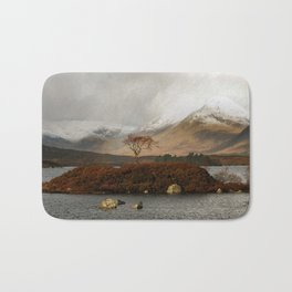 Lone Tree and Dusting of Snow in Mountains of Scotland Bath Mat