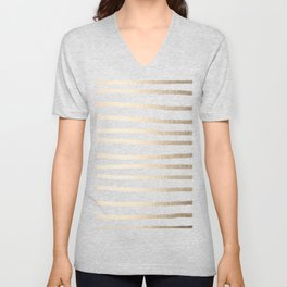 Simply Drawn Stripes in White Gold Sands Unisex V-Neck