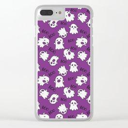 Halloween Purple Cute Ghost Pattern Clear iPhone Case