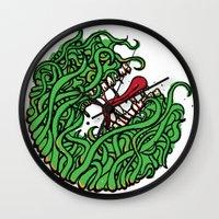 """teeth Wall Clocks featuring """"Teeth"""" by Daniel Gestri"""