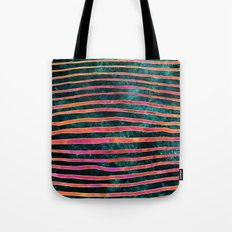 Pattern Play / Stripes on deep turquoise Tote Bag