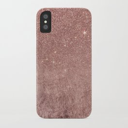 Girly Glam Pink Rose Gold Foil and Glitter Mesh iPhone Case