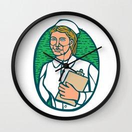 Nurse Holding Clipboard Oval Woodcut Linocut Wall Clock