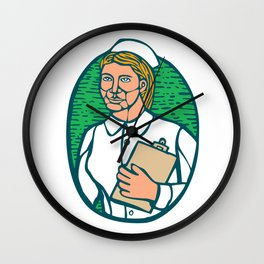 Nurse Holding Clipboard Oval Woodcut Linocut Wall Clock