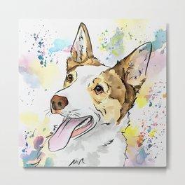 Australian Shepherd with Pastel Art Metal Print