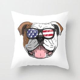 Patriotic English Bulldog Dog Merica American Flag Throw Pillow