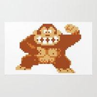 donkey kong Area & Throw Rugs featuring Donkey Kong Bits by adovemore