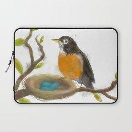 Springtime Robin | Watercolor Illustration  Laptop Sleeve