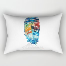 Colorful Feather Art -  Blessing - By Sharon Cummings Rectangular Pillow