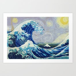 The Starry Night Wave Art Print