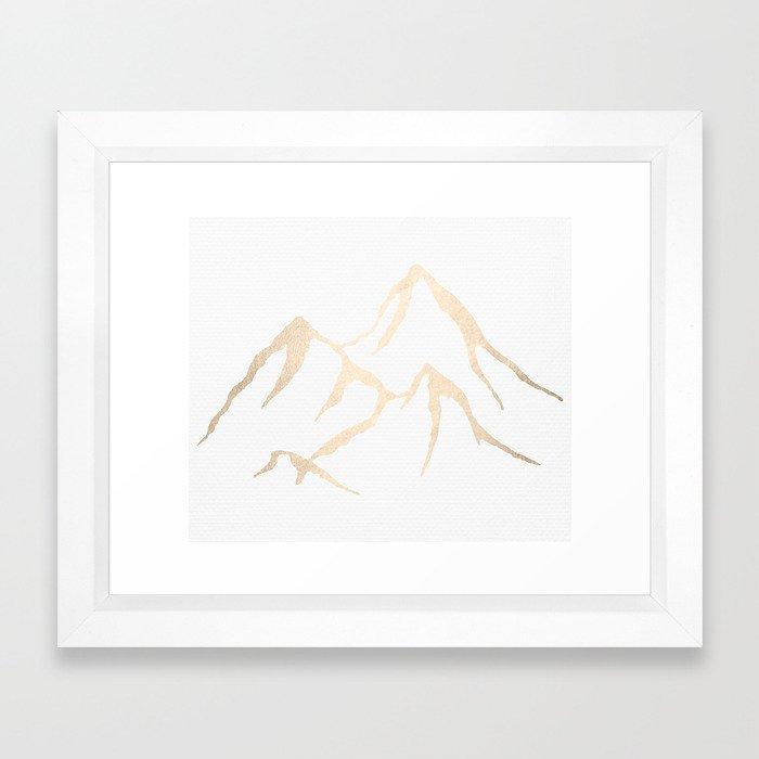 Adventure White Gold Mountains Framed Art Print