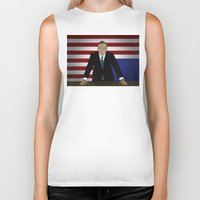frank underwood Biker Tanks featuring House Of Cards - Frank Underwood by Tom Storrer