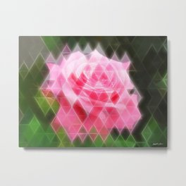 Pink Roses in Anzures 4 Art Triangles 2 Metal Print