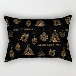 Christmas Golden pattern on black background. Rectangular Pillow