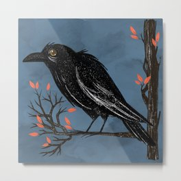 Raven On A Cold And Rainy Day Metal Print