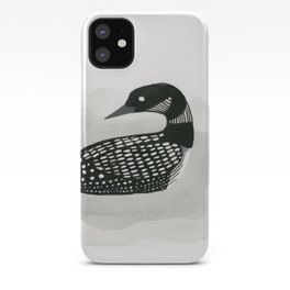 Loon - black and white bird illustration iPhone Case