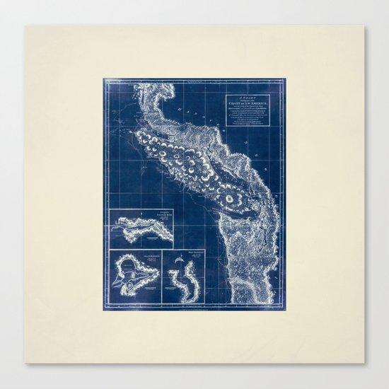 Vintage Blueprint of PNW Canvas Print