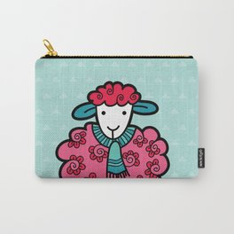 Doodle Sheep on Aqua Triangle Background Carry-All Pouch