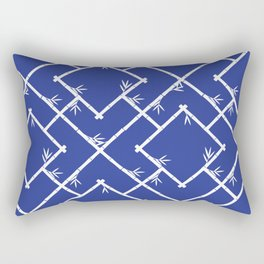 Bamboo Chinoiserie Lattice in Blue + White Rectangular Pillow