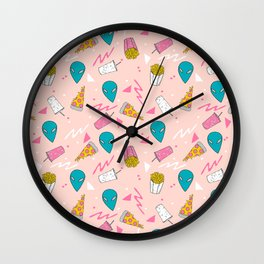 Alien outer space cute aliens french fries rad sodas pattern print pink Wall Clock