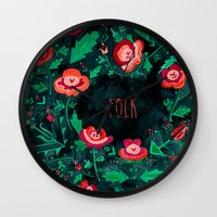 folk Wall Clocks featuring Folk by Plantus Marina