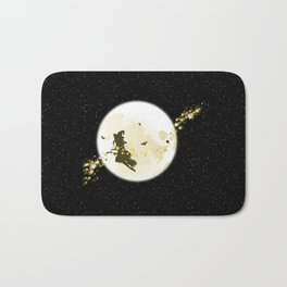 Flying Witch over Full Moon Bath Mat