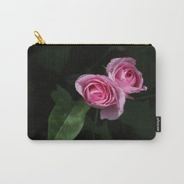 Pink and Dark Green Roses on Black Carry-All Pouch