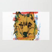 howl Area & Throw Rugs featuring HOWL by Galvanise The Dog