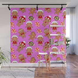 Cute decorative hygge seamless pink pattern. Happy gingerbread men and sweet xmas caramel chocolate Wall Mural