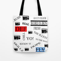 80s Tote Bags featuring 80s Baby! by Kimberly J Graphics