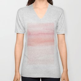 Blush pink hand painted watercolor paint gradient Unisex V-Neck