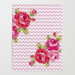 Roses on geometric pattern Poster